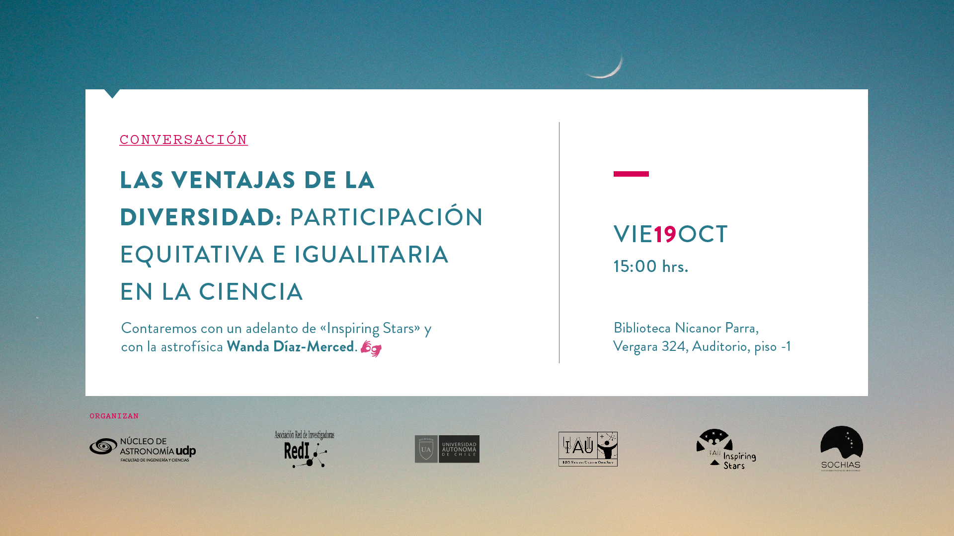 Science for all: Núcleo de Astronomía UDP invites to talk about inclusion in scientific research