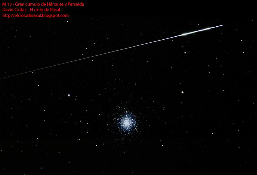 Estrella fugaz se cruza delante del Gran cúmulo de Hercules