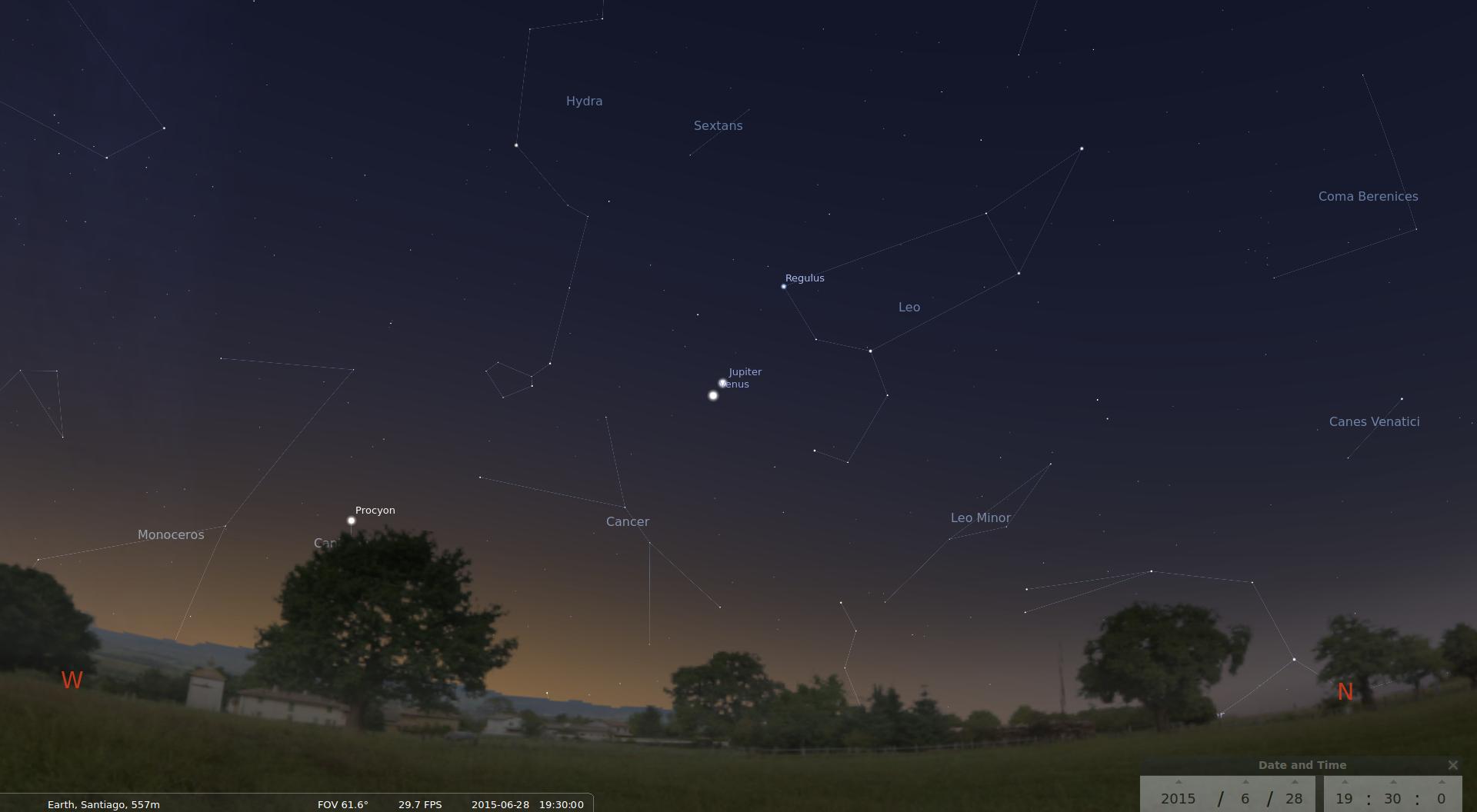 Conjunción de Venus y Júpiter