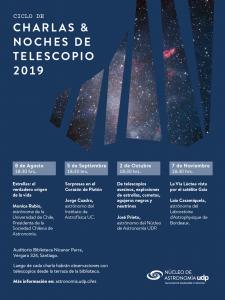 Afiche con información de las charlas