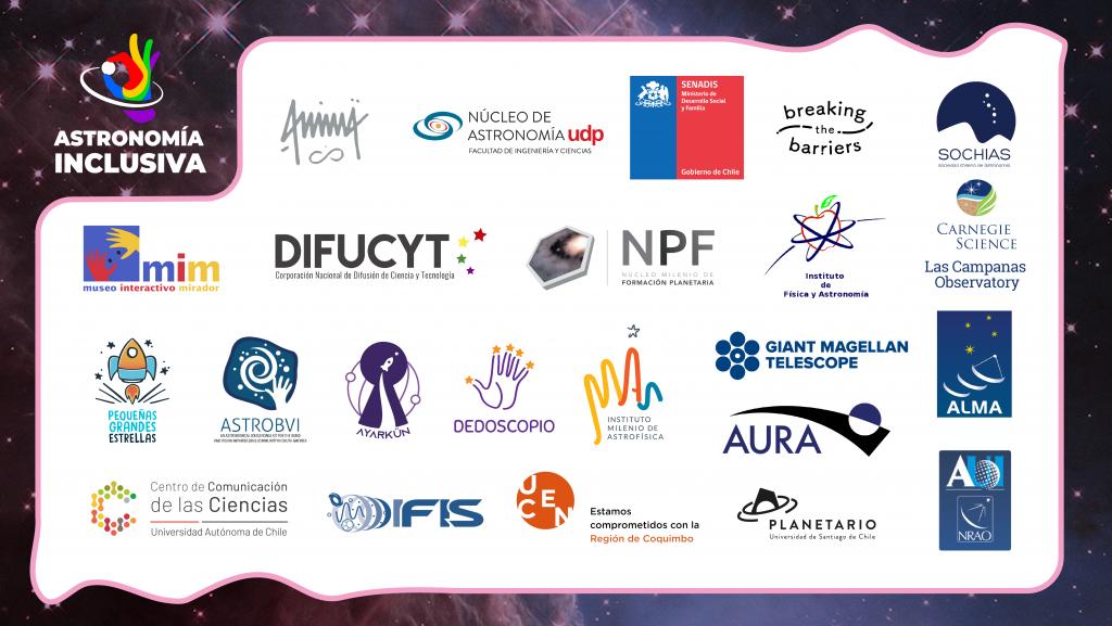 Imagen con 24 logos de las instituciones a las que pertenecen los miembros del Grupo de Astronomía Inclusiva