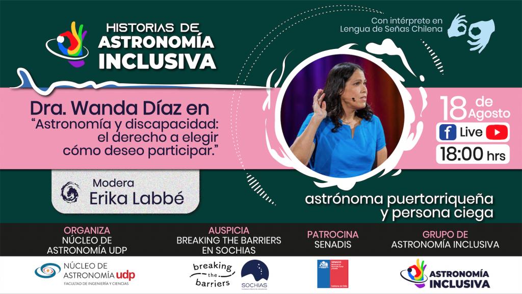 Afiche de la primera sesión, con una fotografía de Wanda Díaz-Merced y la información anterior en el texto.